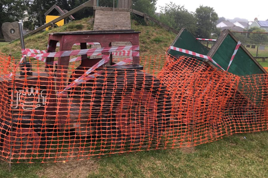 Damaged play equipment