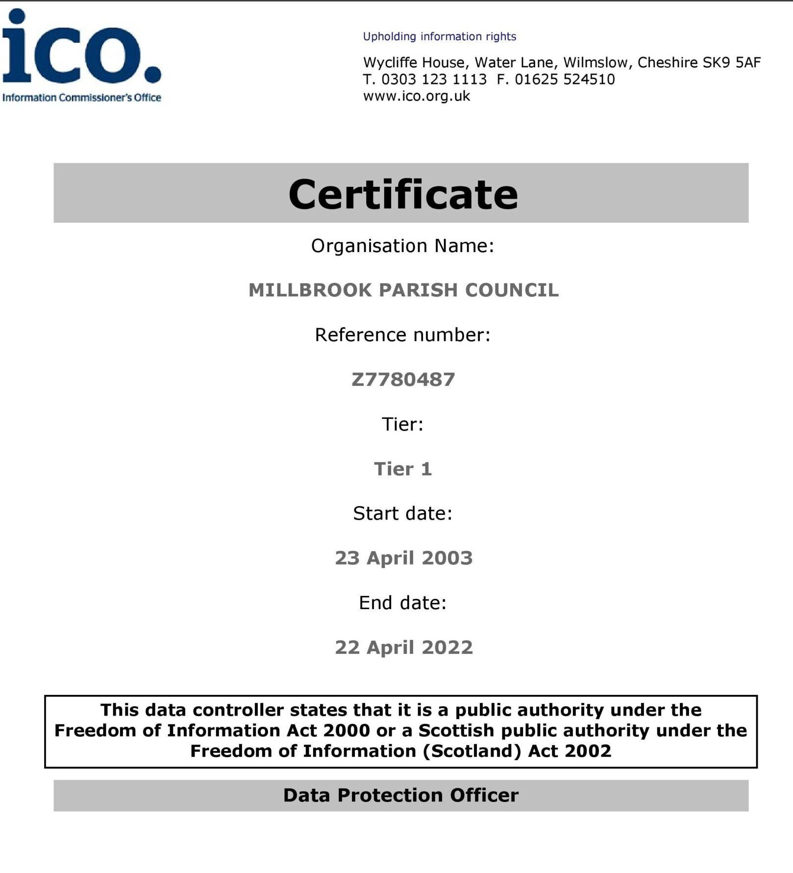 Millbrook Parish Council Data Protection Renewal Certificate