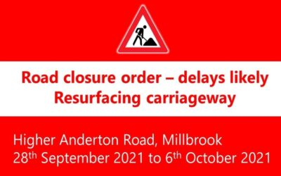Road Closure Higher Anderton Road: 28th to 6th October 2021